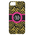 Sassy and Chic Zebra Print Pink Lace Monogram Case For iPhone 5C