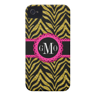 Sassy and Chic Zebra Print Pink Lace Monogram iPhone 4 Case-Mate Case