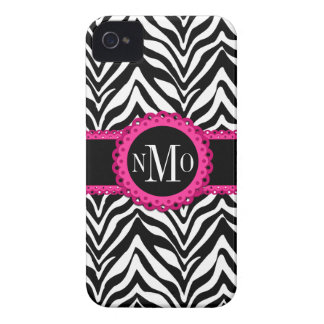 Sassy and Chic Zebra Print Pink Lace Monogram Case-Mate iPhone 4 Cases