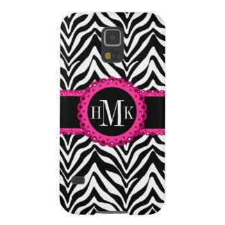 Sassy and Chic Zebra Print Pink Lace Monogram Galaxy S5 Case