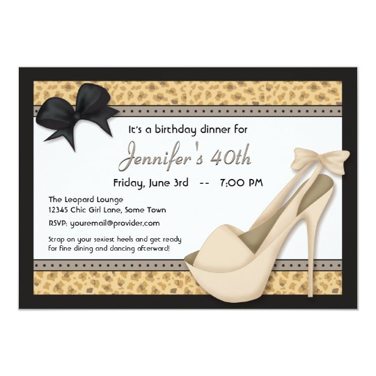 Sassy Beige Heels and Leopard Invitation