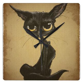 Sassy Black Cat Caricature Square Wall Clock