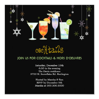Sassy Black Holiday Cocktail Glasses Party Card