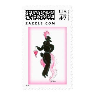 Sassy Black Poodle in People Pose Postage Stamp