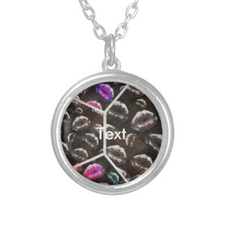Sassy Black Rainbow Lips Silver Plated Necklace