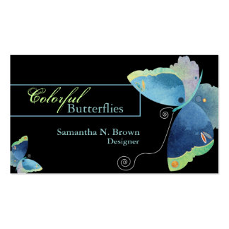 Sassy Blue Butterfly Designer Business Cards