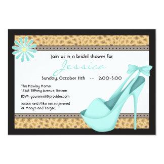 Sassy Blue Heels and Leopard Invitation