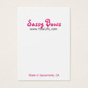 Bow business cards templates zazzle sassy bow chubby pink black cards colourmoves