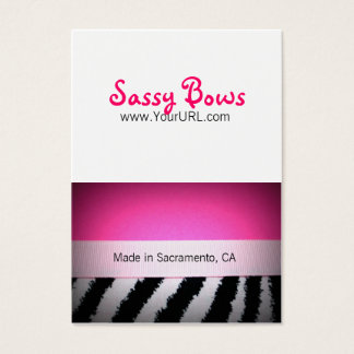 Sassy Bow Chubby Pink & Zebra Bow Cards