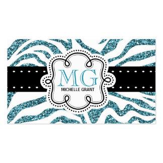 Sassy Bright Blue Glitter Look Zebra ZigZags Business Card Template