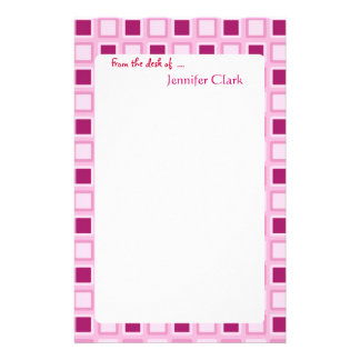 """""""Sassy Candy Pink  Squares Customizable"""" Personalized Stationery"""