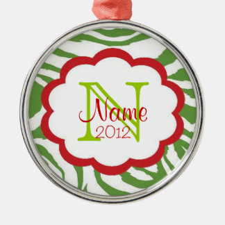 Sassy Christmas Green and Red Zebra Ornament