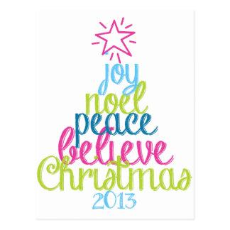 Sassy Christmas Word Tree Postcard