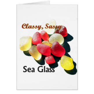 Sassy Classy Sea Glass - Red and yellow Greeting Cards