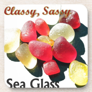 Sassy Classy Sea Glass - Red and yellow Coaster