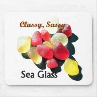 Sassy Classy Sea Glass - Red and yellow Mousepad