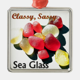 Sassy Classy Sea Glass - Red and yellow Ornaments