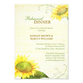 "Sassy Country Sunflowers Rehearsal Dinner Invites 5"" X 7"" Invitation Card"