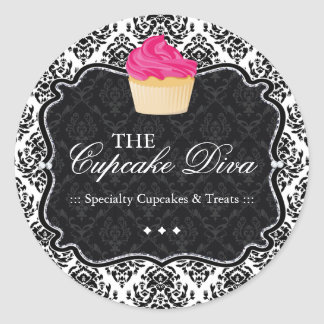 Sassy Damask  Cupcake - Packaging Stickers