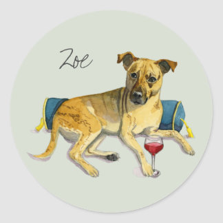 Sassy Dog Enjoying Wine Watercolor Painting Classic Round Sticker