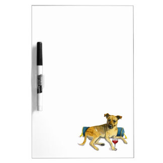 Sassy Dog Enjoying Wine Watercolor Painting Dry Erase Board