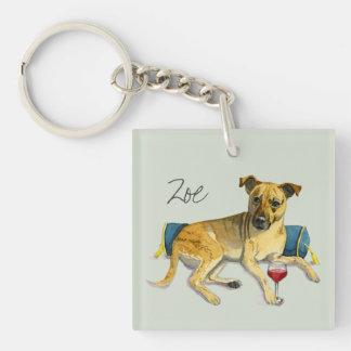 Sassy Dog Enjoying Wine Watercolor Painting Keychain