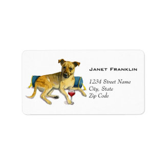 Sassy Dog Enjoying Wine Watercolor Painting Label