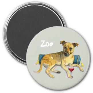 Sassy Dog Enjoying Wine Watercolor Painting Magnet