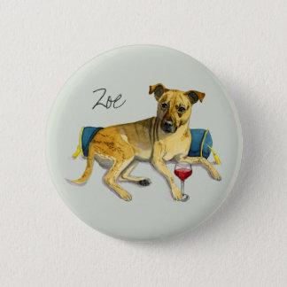 Sassy Dog Enjoying Wine Watercolor Painting Pinback Button