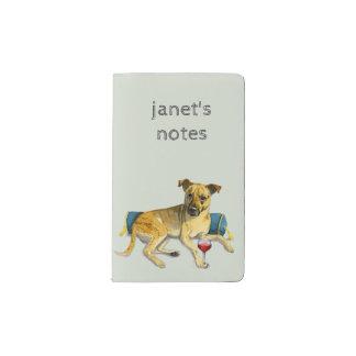 Sassy Dog Enjoying Wine Watercolor Painting Pocket Moleskine Notebook