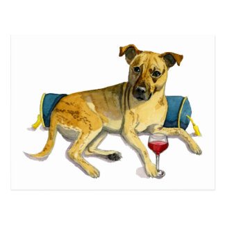 Sassy Dog Enjoying Wine Watercolor Painting Postcard