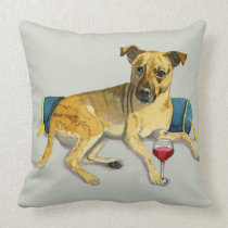 Sassy Dog Enjoying Wine Watercolor Painting Throw Pillow
