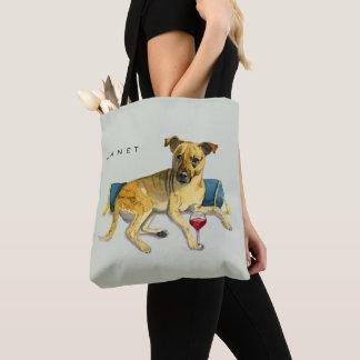 Sassy Dog Enjoying Wine Watercolor Painting Tote Bag