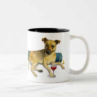 Sassy Dog Enjoying Wine Watercolor Painting Two-Tone Coffee Mug