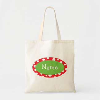 Sassy Dots Personalized Christmas Tote Bag