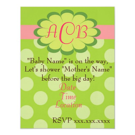 sassy dots pink and green baby shower invitation zazzle