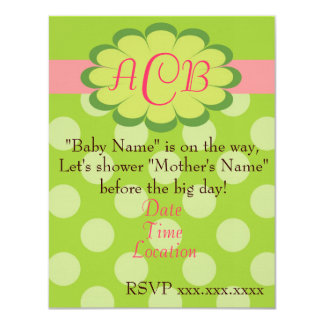 Sassy Dots Pink and Green Baby Shower Invitation