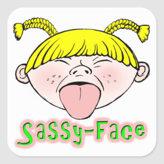 Sassy Face Girl Square Sticker