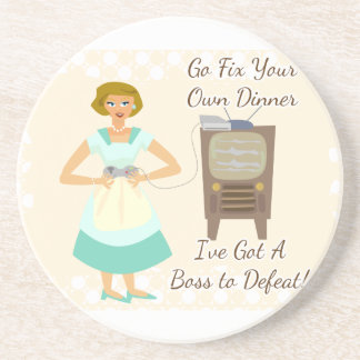 Sassy Fifties Gamer Housewife Drink Coaster