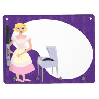 Sassy Fifties Record Playing Housewife Dry Erase Board With Keychain Holder