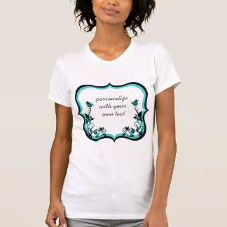 Sassy Floral Frame Women's Tee, Turquoise