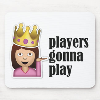Sassy Girl Emoji - Players Gonna Play Mouse Pad