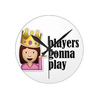 Sassy Girl Emoji - Players Gonna Play Round Clock