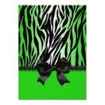 Sassy Green Zebra Invitation with Bow