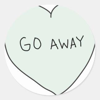 Sassy Heart: Go Away Classic Round Sticker