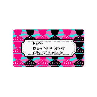 Sassy Hot Pink and Black Cupcake and Zebra Stripe Address Label