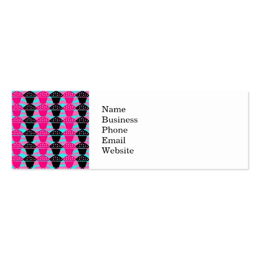 Sassy Hot Pink and Black Cupcake and Zebra Stripe Double-Sided Mini Business Cards (Pack Of 20)