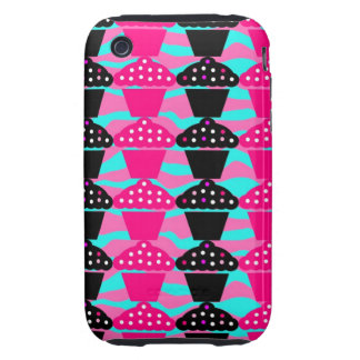 Sassy Hot Pink and Black Cupcake and Zebra Stripe Tough iPhone 3 Cover