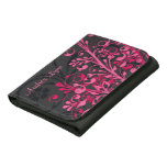 Sassy Hot Pink Black Abstract Floral Personalized Women's Wallets
