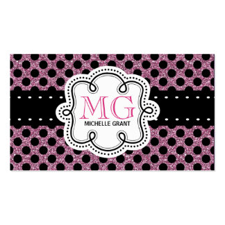 Sassy Hot Pink Glitter Look Ladies Polka Dots Double-Sided Standard Business Cards (Pack Of 100)